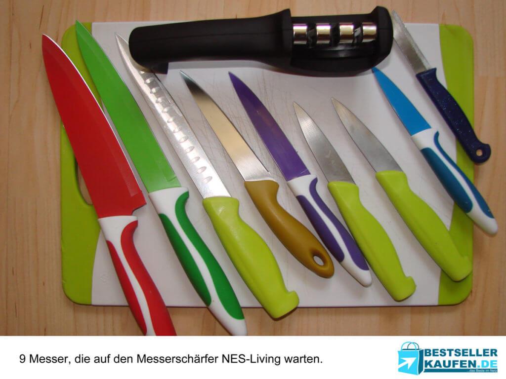 Messerschärfer mit 9 Messern im Test