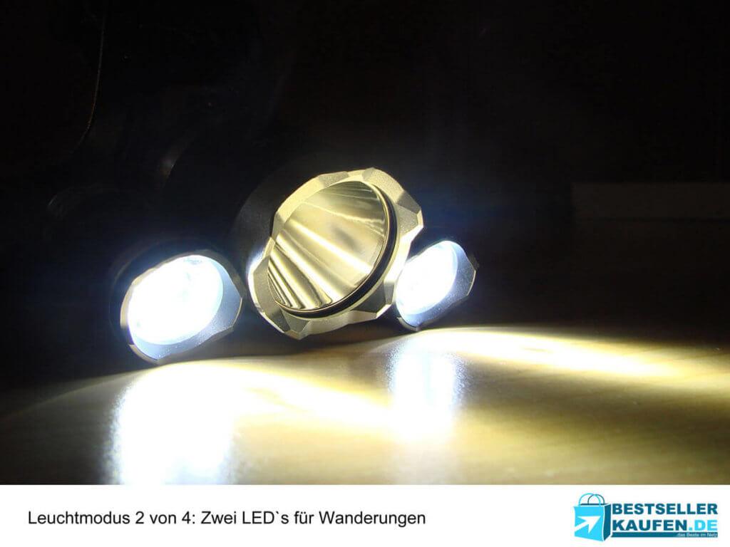 Stirnlampe Test 2 LED